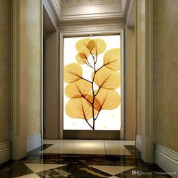 Golden Housing Australia - Wholesale-photo 3d wallpaper Home Decor Entrance hallway wall painting Wedding House backdrop Continental Golden Leaf paper wall