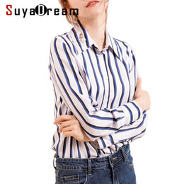 $enCountryForm.capitalKeyWord Canada - Women Silk Blouse 100% Real Silk Twill Long Sleeved Striped Office Lady Blouses for Women 2018 Fall Winter