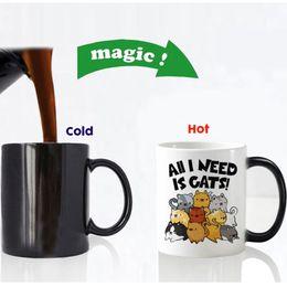magic mug gift 2019 - Free Shipping Funny Cute Cats Color Changing Ceramic Coffee Mug Tea Cup Magic Mugs For Birthday Gift cheap magic mug gif