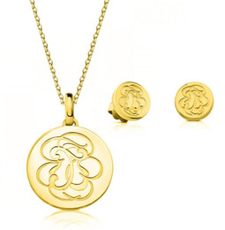 Discount stainless steel boy girl pendant - Fashion Gold Flower Pendant Bears Jewelry Valentine Necklace Earrings Set Stainless Steel Mujer Earring Necklace Set