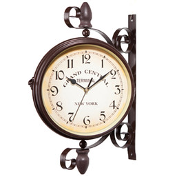 Discount walls watches - Nice Daily Wall Suspension Hanging Double Dial Alarm Clock Timer Bell Horologe Calculagraph Watch Retro Crafts Home Deco