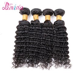 Discount virgin peruvian hair uk AliExpress UK Indian Deep Curly 4 Bundles VIP Beauty Hair Raw Virgin Indian Hair Deep Wave Weave 100g pc Pure Human Hair