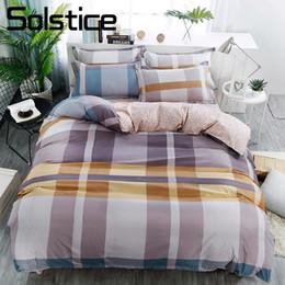 Discount gold linen suits - Solstice Home Textile Geometric Stripe Plaid Duvet Cover Sheet Pillowcase Brown Bedding Set Adult Teen Bed Linens Suit K