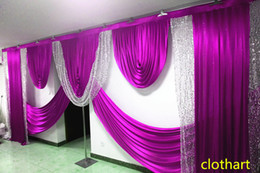 wedding backdrop curtains swag NZ - swags of 3m high*6m wide s wedding ilver sequin swag designs wedding stylist swags for backdrop Party Curtain Stage background drapes