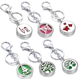 love lockets lovers Australia - Aromatherapy Jewelry Perfume Locket Keychain Butterfly Cat Love Essential Oil Diffuser Scent Key Chain Keyring with 10pcs Pad