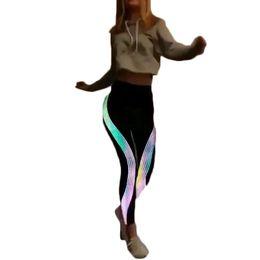 $enCountryForm.capitalKeyWord NZ - 2018 Fashion New Rainbow Luminous Ladies High Waist Fitness Leggings Striped Sports Bright Features Leggings Fitness Pants