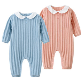 c827c8c89a2f7 baby clothing Ins autumn new baby knitted body jacket full cotton medium  thickness striped Kazakhstan newborn baby crawling suit