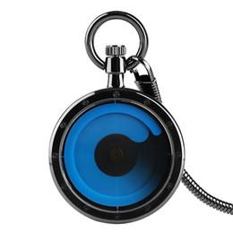 Discount pocket watches for - Creative Minimalism Design Blue Turntable Quartz Snake Chain Pattern Pocket Watch Vintage Clock for Men Women Reloj De B