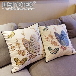 $enCountryForm.capitalKeyWord UK - European Butterfly Embroidery Cushion Cover Cotton Canvas Throw Pillowcases Sofa Seat Pillow Covers Home Decor New Year Gift
