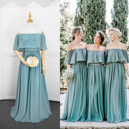 T shirT under shoulder online shopping - Off Shoulder Chiffon Bridesmaid Dresses Lace Up Bohemian Bridesmaid Gowns Floor Length Wedding Guest Dresses