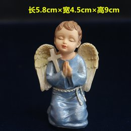 catholic gold cross NZ - Angel pray with sand table Christian Catholic decoration boy figures jesus cross prayer statuette figures Christ mini figurine