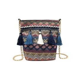 China PACGOTH New Fashion Bohemian Women Straw Handbags Tassel Design Bucket Fashion Beach Bag For Lady Shoulder Women Bag,1PC cheap ladies gold beach bag suppliers