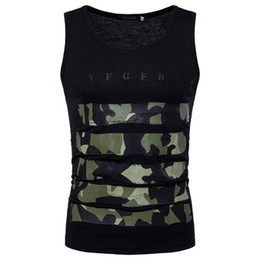 c702dc3223614 Men Camouflage Printed Vest Top Meisai Sport Style Sleeveless Casual Tee Gym  Male Basic Wear 7 Color