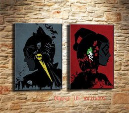 framed mural painting Australia - Batman and The Joker , 2P Canvas Painting Living Room Home Decor Modern Mural Art Oil Painting