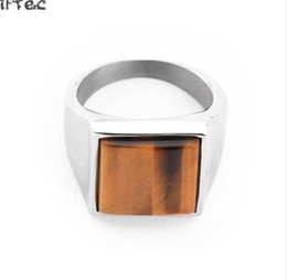 $enCountryForm.capitalKeyWord UK - Tiger Eye Silver Color Men square Rings Top Quality Fancy Hip Hop Jewelry Stainless Steel Wedding Ring Size 8 9 10 11 12