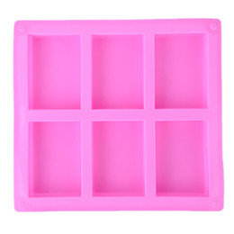China 6 Cavities Handmade Rectangle Square Silicone Soap Mold Chocolate Cookies Mould Cake Decorating Fondant Molds 1 Piece cheap silicone soap moulds suppliers