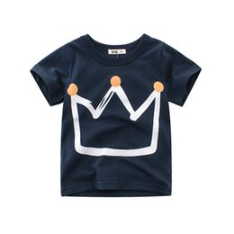 Chinese  New Boy Summer T-shirt Crown Printing Design Cotton Kids Tee Shirt Boys Clothes Summer Outfits 1-10T manufacturers
