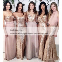 Lavender Blush Wedding Dress NZ - 2019 Modest Blush Pink Beach Wedding Bridesmaid Dresses with Rose Gold Sequin Mismatched Wedding Maid of Honor Gowns Women Party Formal Wear