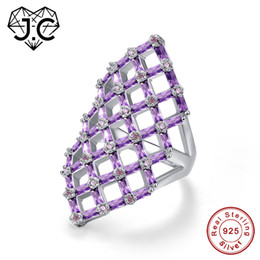 EmErald finE jEwElry online shopping - J C Hollow Square Design Emerald Cut Amethyst Pink White Topaz Ruby Spinel Sterling Silver Ring Size Fine Jewelry Y18102510