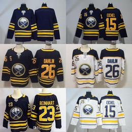 26 Rasmus Dahlin 23 Sam Reinhart Buffalo Sabres  15 Jack Eichel  90 Ryan  O Reilly Hockey Jerseys White Navy All Stiched Free Shipping e773ca15a