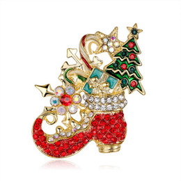 cartoon snail UK - Boots Flower Christmas Gift Xmas Crystal Cartoon Shoe Brooch Gift Pin Colorful Snail Brooches Pins Jewelry Brooches for Men Women