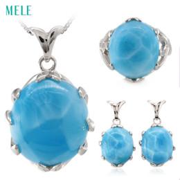 $enCountryForm.capitalKeyWord Canada - Natural larimar silver jewelry set, oval 16mm*18mm for pendant ,oval 14mm*16mm for ring, oval 12mm*14mm earring, top quality