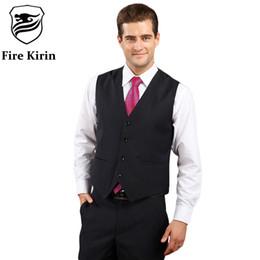 Dark Blue Suits Australia - Fire Kirin Men Suit Vest Classic Mens Wedding Vest Slim Fit Grey Dark Blue Black Formal Vests For Men Casual Tuxedo Waistcoat Q2