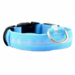 Chinese  Pet Luminous Collar Safety Pet Collar For Lighted Up Nylon Solid LED Dog Glow Necklace Huisdier Kraag #P manufacturers
