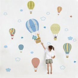 Balloon wall stickers online shopping - Hot Air Balloons Animals wall stickers decals children Nursery bedroom living room pvc wall sticker