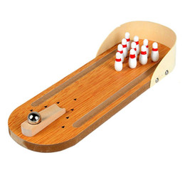 mini bowling toys 2019 - Mini Desktop Bowling Game Set Wooden Bowling Alley Ten Metal Pin Ball Desk discount mini bowling toys