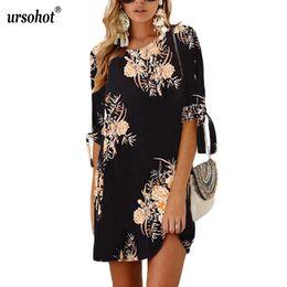 Discount plus size sexy tunics club - Ursohot Bow Tie 3 4 Sleeve Summer Dress Women Casual Style Floral Print Loose Mini Tunic 2018 Beach Vestidos Plus Size 5