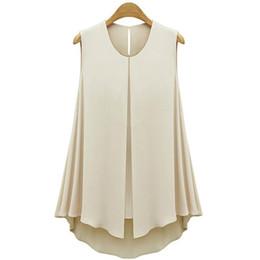 356e77f087d64b Wholesale- 2017 Casual Women Shirts Summer style Women Chiffon Blouses  Women Shirt Ruffles Tops Sleeveless O-neck Top S-XL plus size