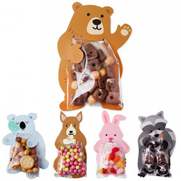 Mechanical Bearing NZ - Cookie Packaging Cute Candy Rabbit Bear Fox Cartoon Plastic Bags For Biscuits Snack Baking Package With Card Head