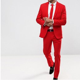 EvEning dinnEr wEar online shopping - Two Piece Red Groom Tuxedos for Wedding Wear Notched Lapel Classic Fit Evening Prom Men Suits Custom Made Dinner Suit Jacket Pants
