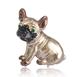$enCountryForm.capitalKeyWord UK - Wholesale Price Blucome Pug Dog Brooches For Women Gold Color Animal Brooch Enamel Pins Scarf Dress Clothes Decorations Jewelry