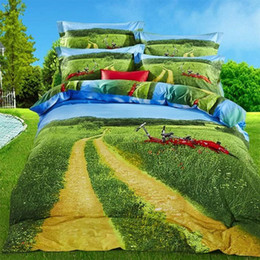 """New Style 3d Paintings NZ - 2018 Home textile New style""""Leisurely and carefree"""" ink oil painting 3D full cotton printing pastoral country 4pcs bedding set Queen"""