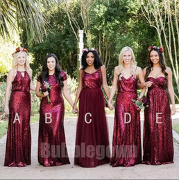 Summer beach wedding dreSSeS for gueStS online shopping - 2018 Sparkle Sequined Burgundy Bridesmaid Dresses For Beach Wedding Party Guest Dresses Mixed Styles Maid Of Honor Gowns Custom Made BA9269