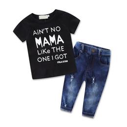 Wholesale fashion kids jeans online shopping - Fashion Boys Childrens Sets Letters Black tshirts Hole Jeans Pants Set Summer Cotton Boy Kids T shirts Boutique Enfant Clothes Outfits