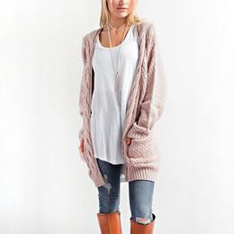 $enCountryForm.capitalKeyWord NZ - Winter Coat Casual Long Knitted Cardigan Autumn Korean Women Loose Solid Color Pocket Design Crochet Sweater Jacket Pink Beige