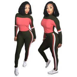 stand collar tracksuits UK - women hoodie two piece set stand collar tracksuit leggings sweatshirt outfits panelled tights pullover sportswear long sleeve shirt pants