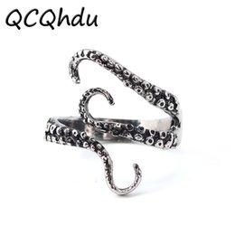 1 PC Octopus Feeler Anéis Ajustáveis para Anel de Personalidade Das Mulheres Dos Homens Squid Feeler Do Punk Do Vintage Dedos Partido Jóias