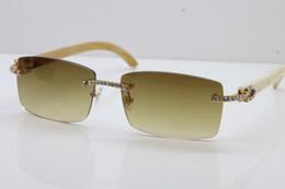Discount stones sunglasses - 2018 New Larger Sunglasses Hot Optical Luxury brand Sun glasses Designer White Genuine Buffalo Horn Smaller Big Stones S