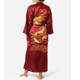 chinese silk gown 2019 - Burgundy Chinese Men's Satin Silk Robe Embroidery Kimono Bath Gown Dragon Nightwear S M L XL XXL XXXL ZR06 cheap chinese