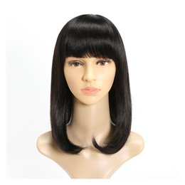Bangs For Medium Hair NZ - Discount 100% unprocessed virgin remy human hair natural straight bangs natural color medium full lace wig for women