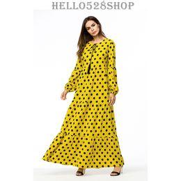 b1801919bc9 Automne Hiver Jaune Point De Vague Imprimé Décontracté Robes Longues Femmes  - Vintage des années 1920 manches longues Muslim Abaya
