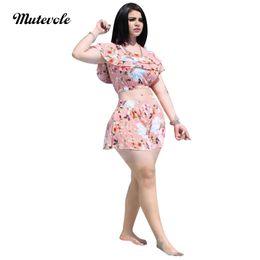 49fac7747a7e Mutevole 2 Piece Short Set Women Floral Print Summer Ruffles Crop Top and Pants  Set Chiffon Two Piece Outfit Sexy Beach Wear