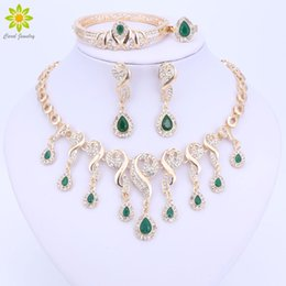 $enCountryForm.capitalKeyWord Australia - eaded jewelry set Gold Color Crystal African Beads Jewelry Sets For Women Dress Accessories Wedding Bridal Necklace Earrings Bracelet Rin...