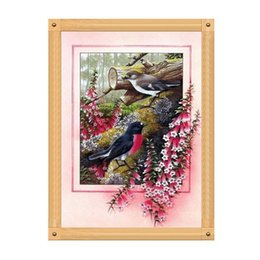 5d diamond UK - Birds Flower 5D Diamond Round Rhinestone Embroidery Painting Animal Hungry Birds DIY Cross Stitch Kit Mosaic Draw Home Decor Art Craft