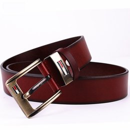 wide waist belts Australia - Two Layers Cowhide Belt Simple For Men Waist Belts Easy To Use Wide Straps Multi Colors 18zd B