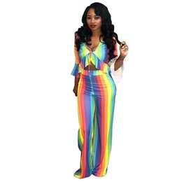 316836161d Rainbow Striped Sexy 2 Two Piece Set Women 2018 New Ruffle Trim Crop Top  and Pant Suits Boho Beach Set Summer Outfits for Women
